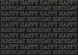 Wrapping paper happy birthday black