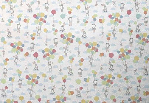 Geschenkpapier Baby Häschen Luftballon