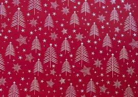Geschenkpapier Weihnachten Tannenbäume Rot