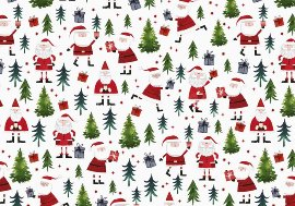 Geschenkpapier Weihnachten Santa Rot Weiß