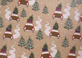 Geschenkpapier Weihnachtsauto Kraftpapier