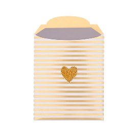 Geschenkumschlag Streifen Herz Gold B6