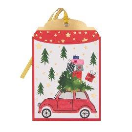 Geschenkumschlag Weihnachtsauto B6
