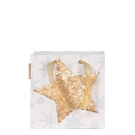 Geschenktasche Weihnachten Finest Stern Pailletten Weiß Gold