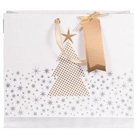 Geschenktasche Weihnachten Finest Baum Weiß Gold