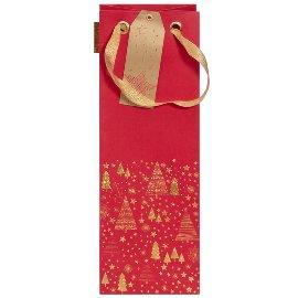 Flaschentasche Weihnachten Bäume Rot Gold