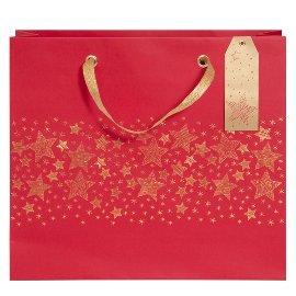 Geschenktasche Weihnachten Sterne Rot Gold