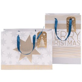 Geschenktaschen Set Weihnachten Finest Sterne Weiß Gold