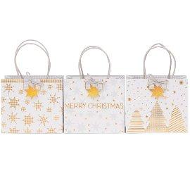 Geschenktaschen 3er Set Weihnachten Finest Sterne Bäume Weiß Gold