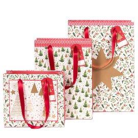 Geschenktaschen 3er Set Weihnachten Stern Bäume Rot Grün