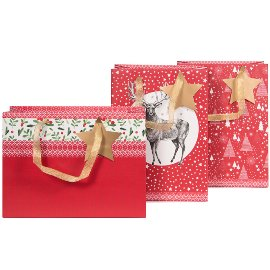 Geschenktaschen 3er Set Weihnachten Hirsch Zweige Bäume Rot