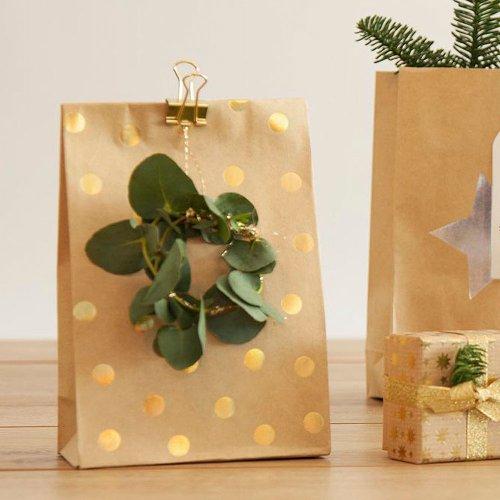Geschenktaschen 12er Set Punkte Gold