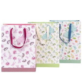 Gift bag set flowers butterfly