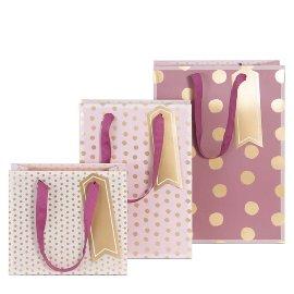 Gift bag set dots rose