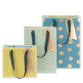 Gift bag set dots blue green