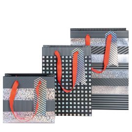 Gift bag set stripes black