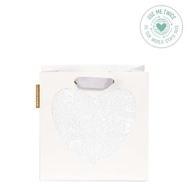 Gift bag sequin heart white