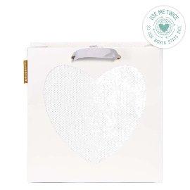 Geschenktasche Hochzeit Paillettenherz Weiß