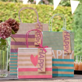 Gift bag set kraft stripes hearts
