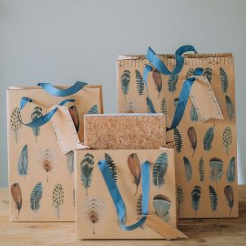 Gift bag set kraft paper feathers