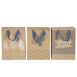 Gift bag set Organics kraft paper feather