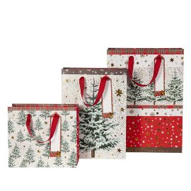 Geschenktaschen Set Weihnachten Bäume