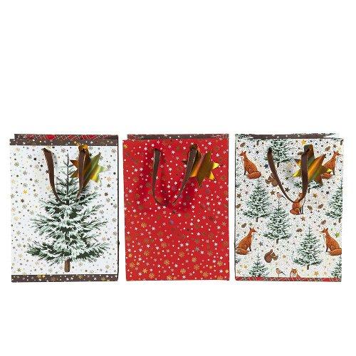 Christmas gift bag set tree stars animals
