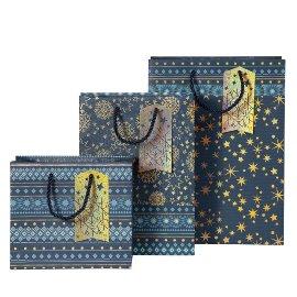 Geschenktaschen Set Weihnachten Sterne Blau