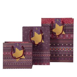 Geschenktaschen Set Weihnachten Muster Bordeaux