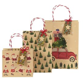 Geschenktaschen Set Weihnachten Kraftrippe Santa