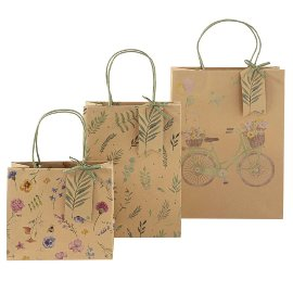 Giftbagset Organics kraft paper blossom bicycle
