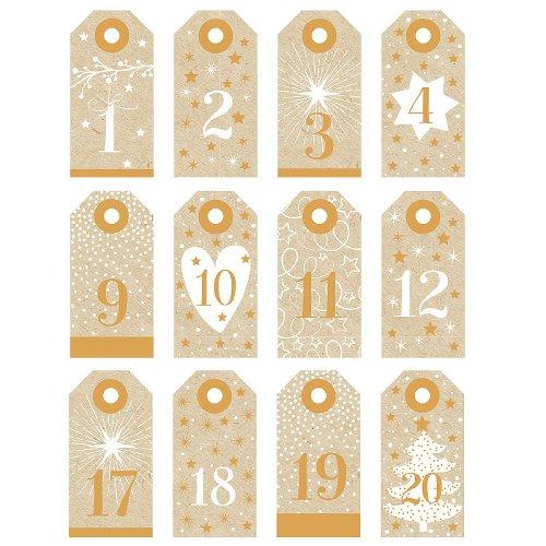 Adventskalender-Anhänger + Band gold