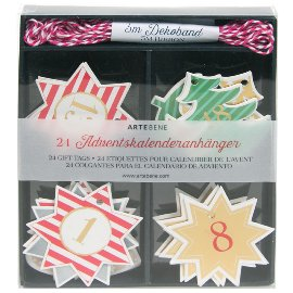 Advent calendar pendant star heart tree with ribbon