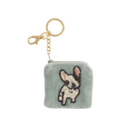 Key ring velvet sequins Bulldog
