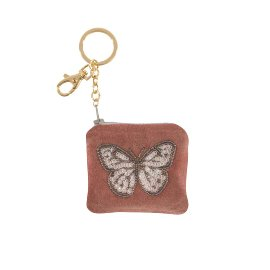 Key ring velvet sequins Butterfly