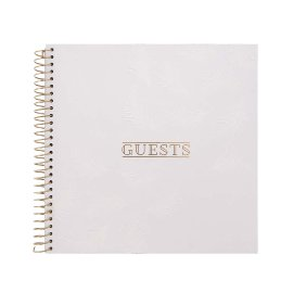 Guestbook spiral feather white