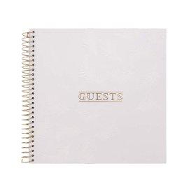 Gästebuch Spirale Feder Weiß