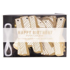 Paper garland happy birthday gold