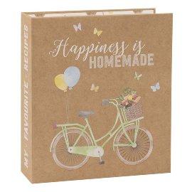 Rezeptordner Fahrrad Kraftpapier Spruch Happiness DIN A5