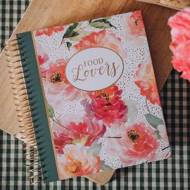 Recipe book spiral blossoms