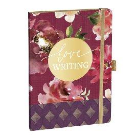 Notebook A5 watercolour roses bordeaux