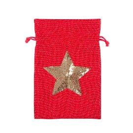 Geschenksäckchen Jute Stern Pailletten Rot