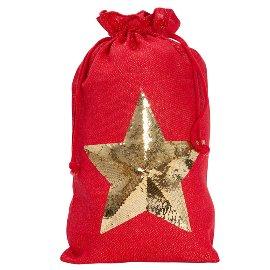 XL-Geschenksack Jute Stern Pailletten Rot