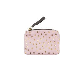 Coin pocket velvet dots rose