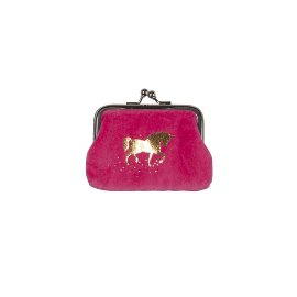 Coin pocket velvet unicorn pink