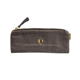 Pouch velvet heart grey