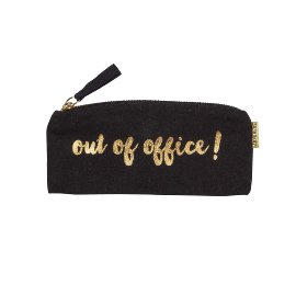 Etui Stiftetasche Spruch Out of office Schwarz