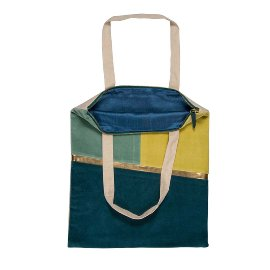 Shopper favourite bag zipper velvet blue green