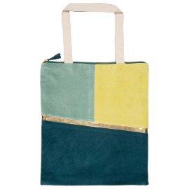 Shopper favourite bag zipper velvet blue green