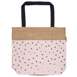 Shopper bag jute dots rose